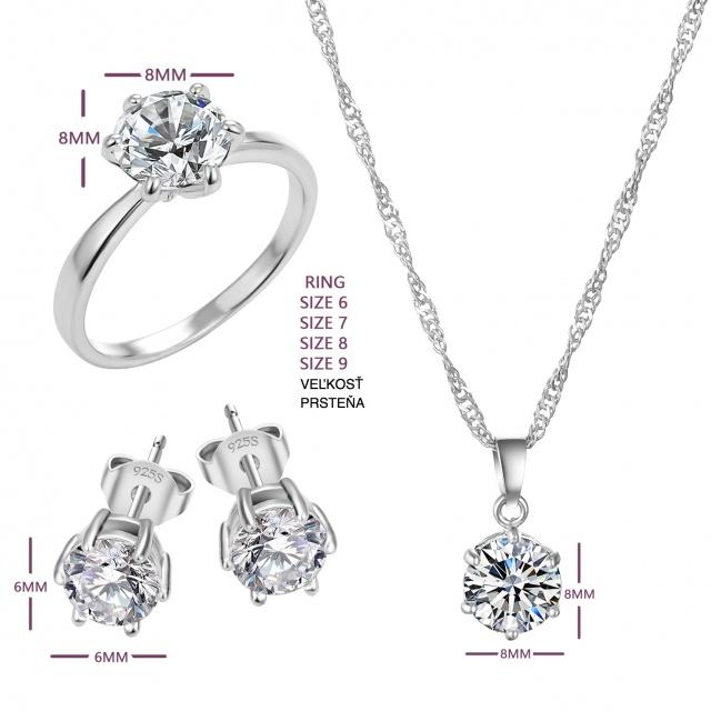 Romantická súprava šperkov Náhrdelník Náušnice Prsteň Romantic Jewelry Set