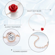 Red Trees Brand Design Fine Jewelry New Arrival Romantic Rose Flower Shape 925 Sterling Silver Charm Bracelets For Women Gift