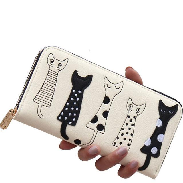 Dlhá dámska peňaženka PÄŤ MAČIEK 4farby Women Long Purse Five Cats 4colors