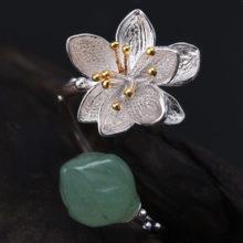 Strieborný prsteň KVET handmade AVENTURÍN QUARTZ 2farby