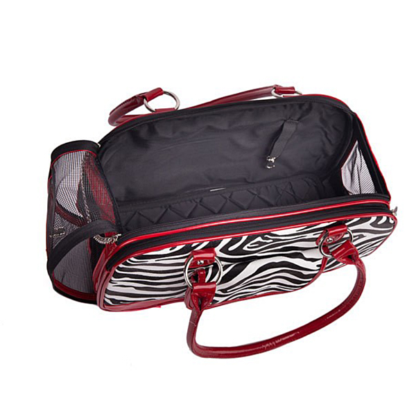 Pevná prenosná taška pre mačku alebo psa 2farby Pet Carrier Bag Zebra Pattern