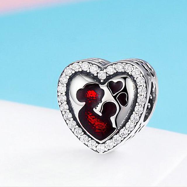 Pandora Silver Mother's Love HEART Bead DIY Jewelry