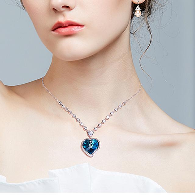 Náhrdelník SRDCE kryštál SWAROVSKI 2farby Crystal Heart Pendant Necklace 2colors