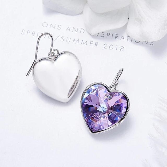 Náušnice SRDCE kryštál SWAROVSKI 3farby Crystal HEART Drop Earrings 3colors