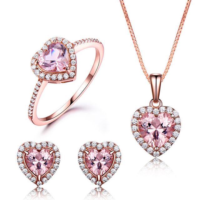 Strieborná súprava šperkov RUŽOVÉ SRDCE Silver Jewelry set PINK HEART