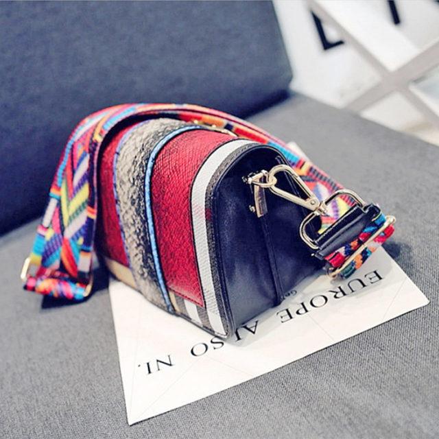 Malá kabelka & široký farebný popruh 2farby Messenger Bag Multicolor Strap