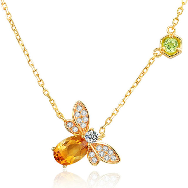Strieborný náhrdelník CITRÍN & VČELA Silver Pendant Necklace BEE & CITRINE
