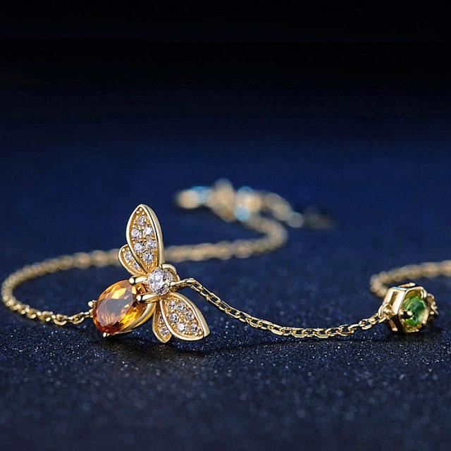 Strieborný náramok CITRÍN & VČELA Silver Bracelet BEE & CITRINE