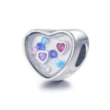 MOWIMO Colorful 925 Sterling Silver Heart Charm Zircon Bead Fit Original pandora Bracelets Bangles Pendant Jewelry Making BNC043