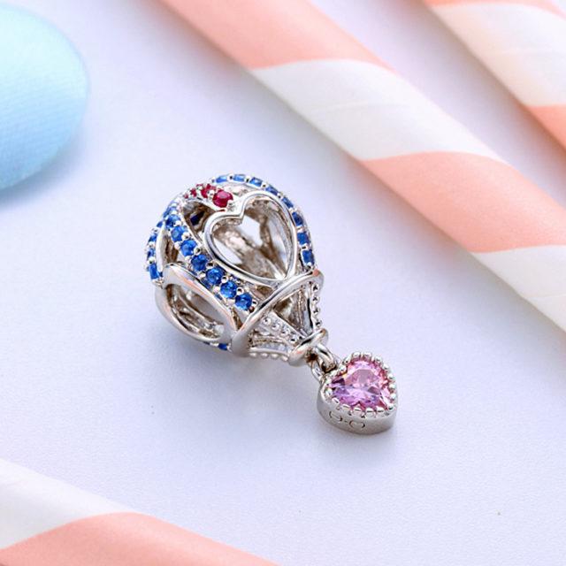 Strieborný korálik RUŽOVÉ SRDCE balón štýl Pandora Silver PINK HEART Bead Balloon DIY Jewelry