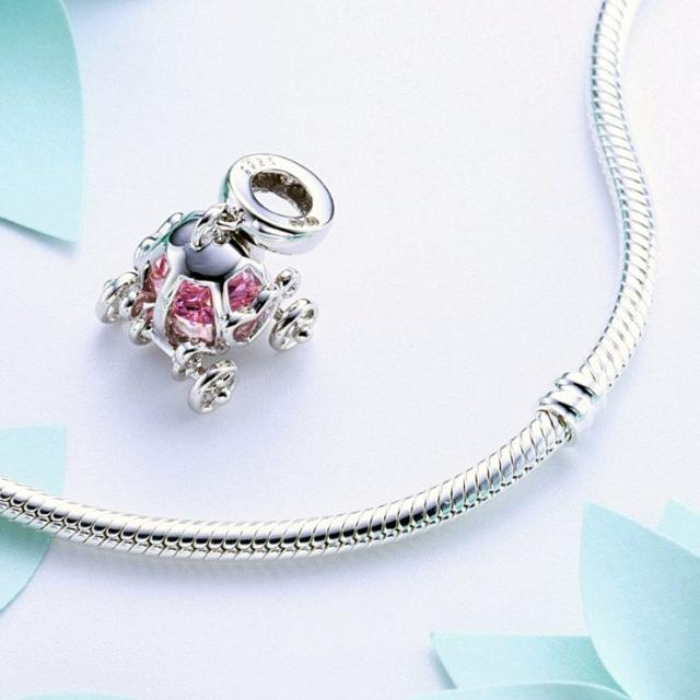 Strieborný korálik RUŽOVÉ SRDCE štýl Pandora Silver PINK HEART Bead DIY Jewelry
