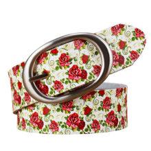 Dámsky kožený opasok &  farebná potlač 7vzorov Leather Belt with Colorful Printing