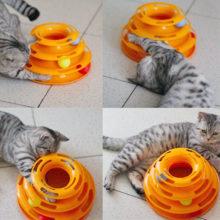 Hračka pre mačku Interaktívna dráha s loptičkami 4farby