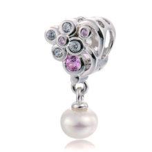 1x Strieborný perlový prívesok štýl Pandora DIY hrozno